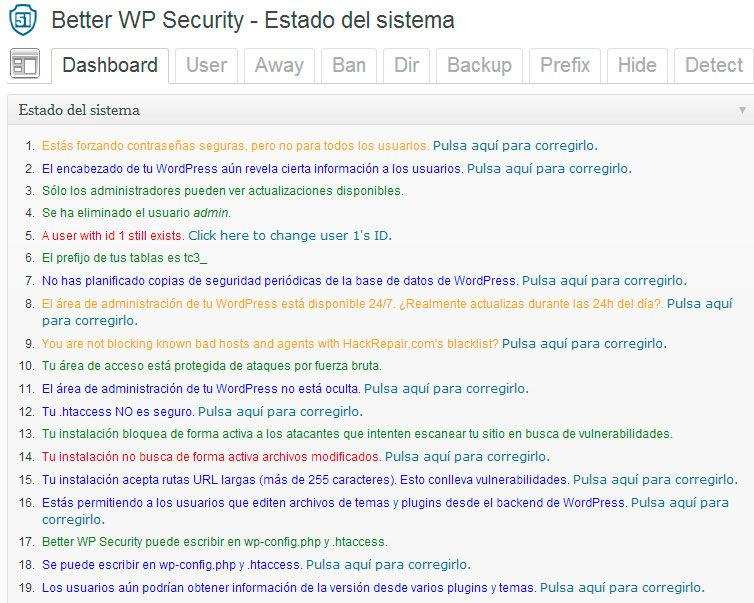 Better WordPress Segurity Página principal
